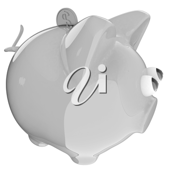 Piggy bank with gold coin on white