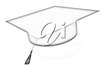 Graduation hat on a white background