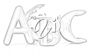 abc text and earth on white background