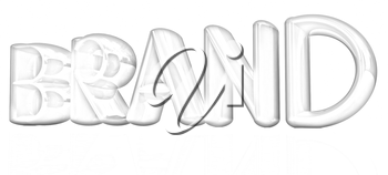 brand 3d colorful text on a white background