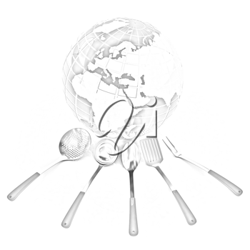 cutlery on white background around Earth
