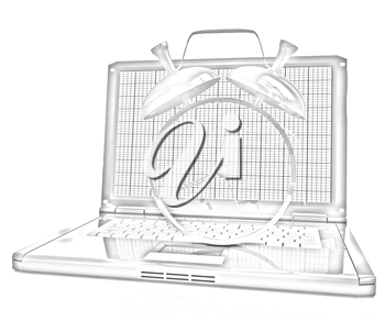 Notebook and clock on a white background