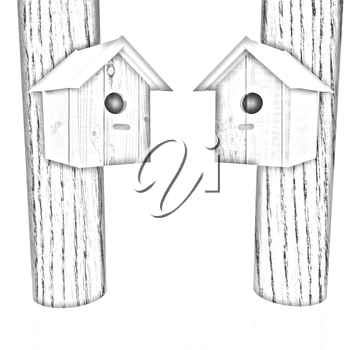 Nesting boxes on a white background