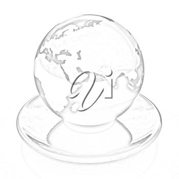 Globe on a saucer on a white background