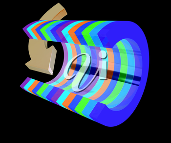 3d colorful abstract cut pipe and arrow on a black background