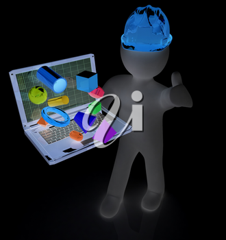 3D small people - an engineer with the laptop presents 3D capabilities on a white background