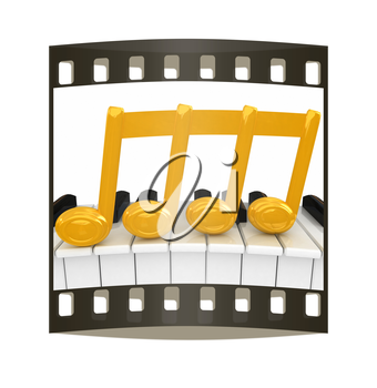 3d note on a piano. The film strip