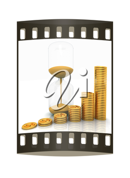 hourglass and coins on a white background. The film strip