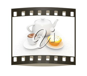 Appetizing pie and cup of coffee on a white background. The film strip