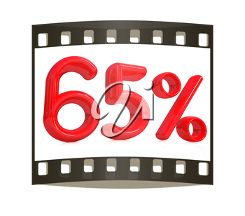 3d red 65 - sixty five percent on a white background. The film strip