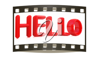 3d red text hello on a white background. The film strip
