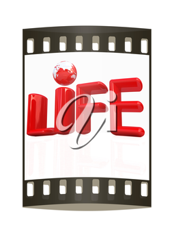 3d red text life on a white background. The film strip