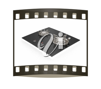 3d gas-stove on a white background. The film strip