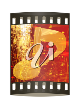 3d note on red fantasy background. The film strip