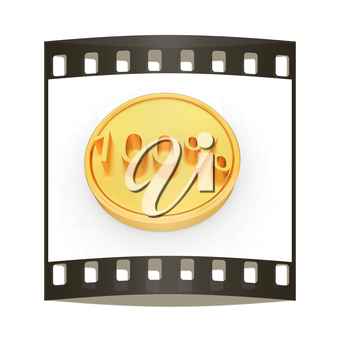 Gold percent coin 100 on a white background. The film strip