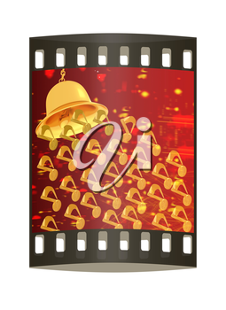 Toll. Gold bell on winter or Christmas style background with a wave of stars. The film strip