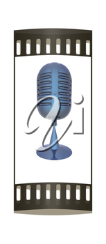 blue metal microphone on a white background. The film strip