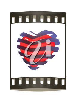 3d beautiful red glossy heart of the bands on a white background. The film strip
