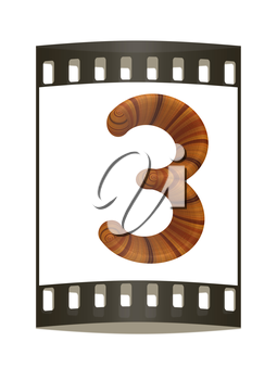 Wooden number 3- three on a white background. The film strip
