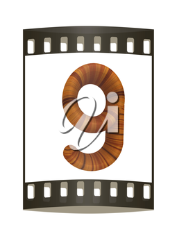 Wooden number 9- nine on a white background. The film strip