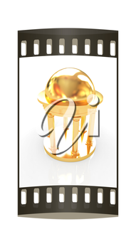 Gold rotunda on a white background. The film strip