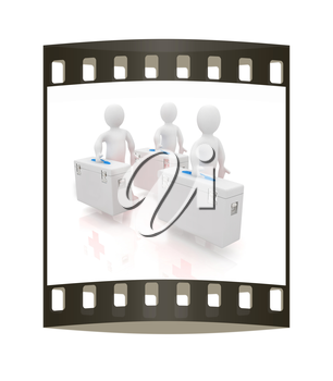 3d doctors on a white background. The film strip. The film strip