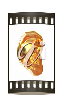 Ear gold 3d render isolated on white background. The film strip