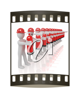 3d mans in hardhat with red fire extinguisher on a white background. The film strip