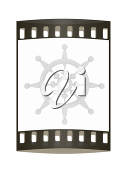 Steering wheel on a white background. The film strip