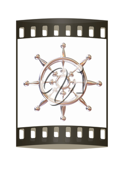 Metal steering wheel on a white background. The film strip