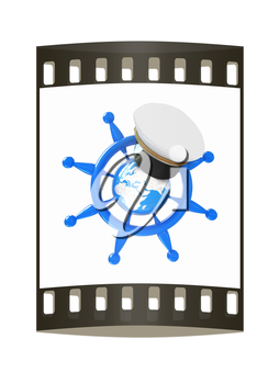 Steering wheel with Earth, and marine cap . Trip around the world concept on a white background. The film strip