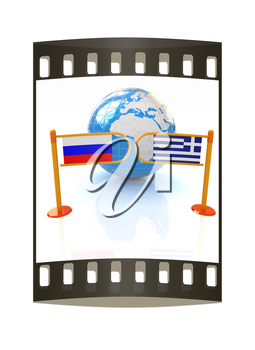 Three-dimensional image of the turnstile and flags of Russia and Greece on a white background. The film strip