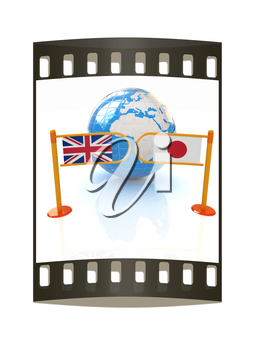 Three-dimensional image of the turnstile and flags of UK and Japan on a white background. The film strip