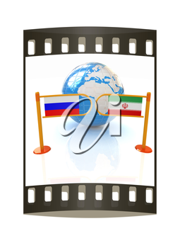 Three-dimensional image of the turnstile and flags of Russia and Iran on a white background. The film strip
