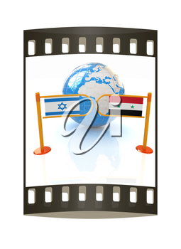 Three-dimensional image of the turnstile and flags of Israel and Syria on a white background. The film strip