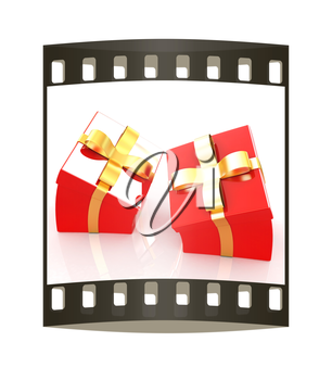 Crumpled gifts on a white background. The film strip