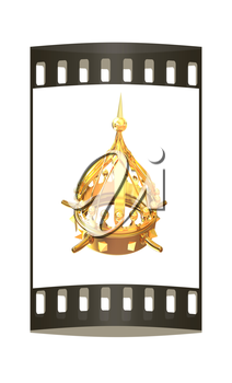 Gold crown isolated on white background. The film strip