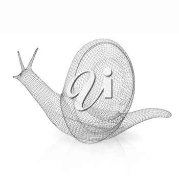 3d fantasy animal, snail on white background