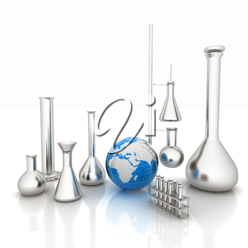 Chemistry set, with test tubes, and beakers filled with colored liquids and Earth