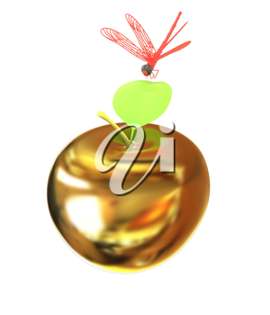 Dragonfly on gold apple