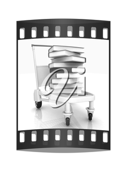 books in cart on a white background. The film strip with place for your text