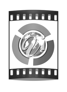 Earth and semi-circles on a white background. The film strip