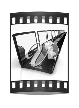 Computer Network Online concept on a white background. The film strip