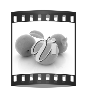 apples on a white background. The film strip