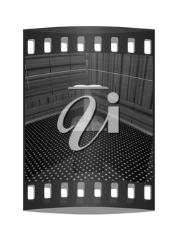 3d render of podium with an open book in the corner. The film strip