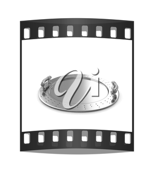 Gold salver on a white background. The film strip