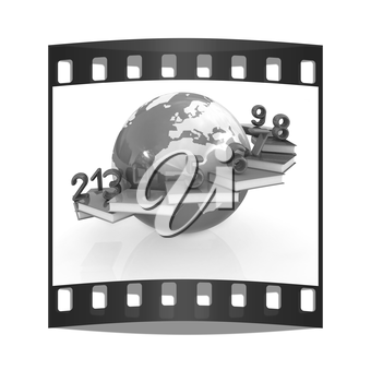 Global Education and numbers 1,2,3,4,5,6,7,8,9 on a white background. The film strip