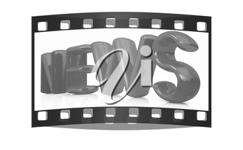3D text news on a white background. The film strip