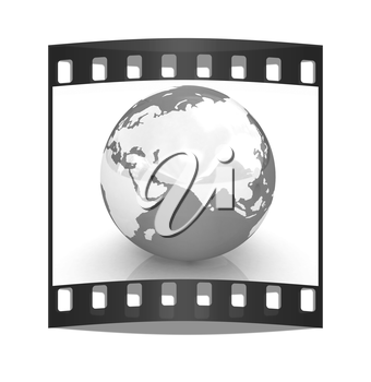 Earth on a white background. The film strip
