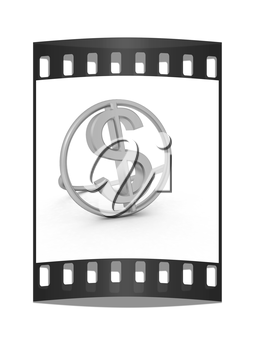 3d text gold dollar icon on a white background. The film strip